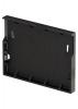 Render da tampa inicio/final para o canal XTRADRAIN 100 L11 A138 H100 em composite plástico preto.