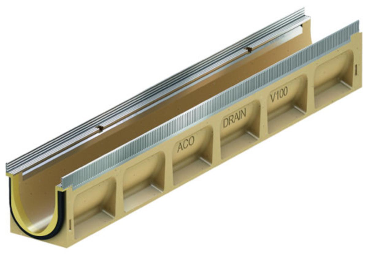 Render do canal MULTILINE SEAL IN V100 0.0 L1000 H150 em betão polímerico sem grelha, sistema de fixação Drainlock com bastidor em aço galvanizado