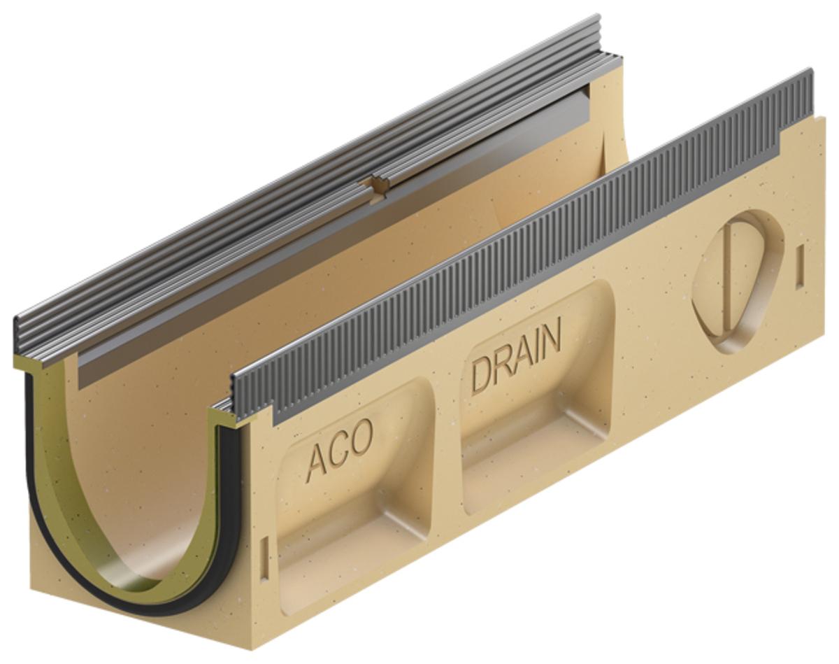 Render do canal MULTILINE SEAL IN V100 0.1 L500 H150 em betão polímerico sem grelha, sistema de fixação Drainlock com bastidor em aço galvanizado e pré-formas laterais quebráveis L-T-X