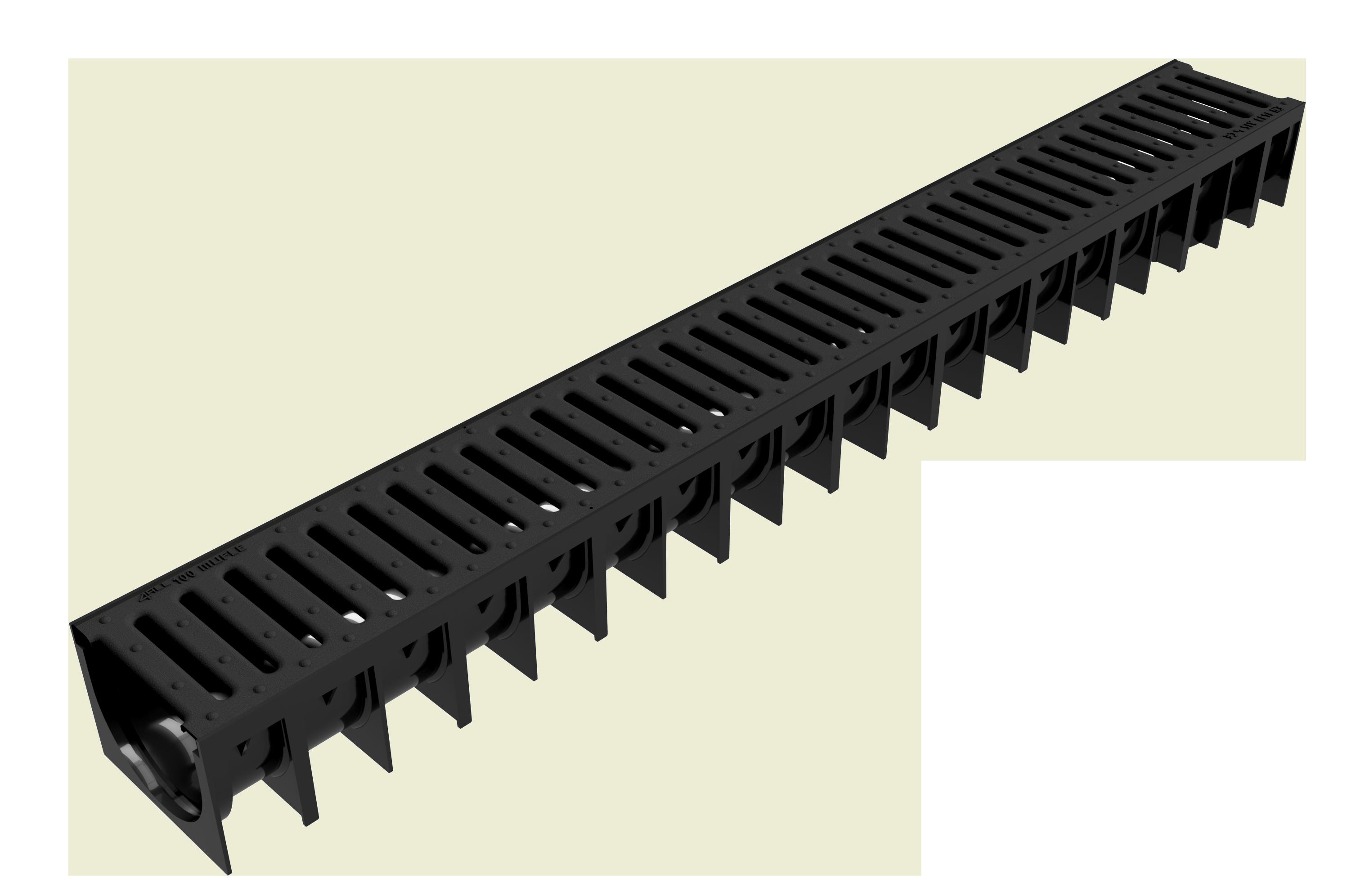 Render del canal MUFLE 4ALL H92 en polipropileno negro con reja pasarela de polietileno de alta densidad (HDPE) clase de carga A15.