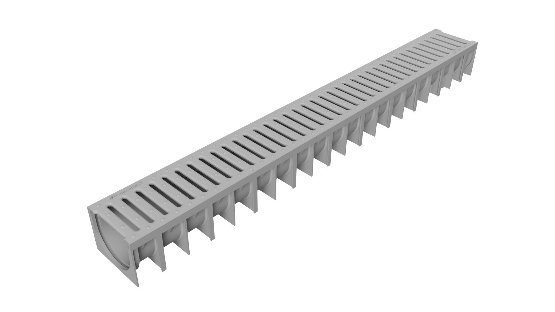 Render del canal MUFLE 4ALL H92 en polipropileno gris con reja pasarela de polipropileno alta densidad (HDPE) color gris clase de carga A15.