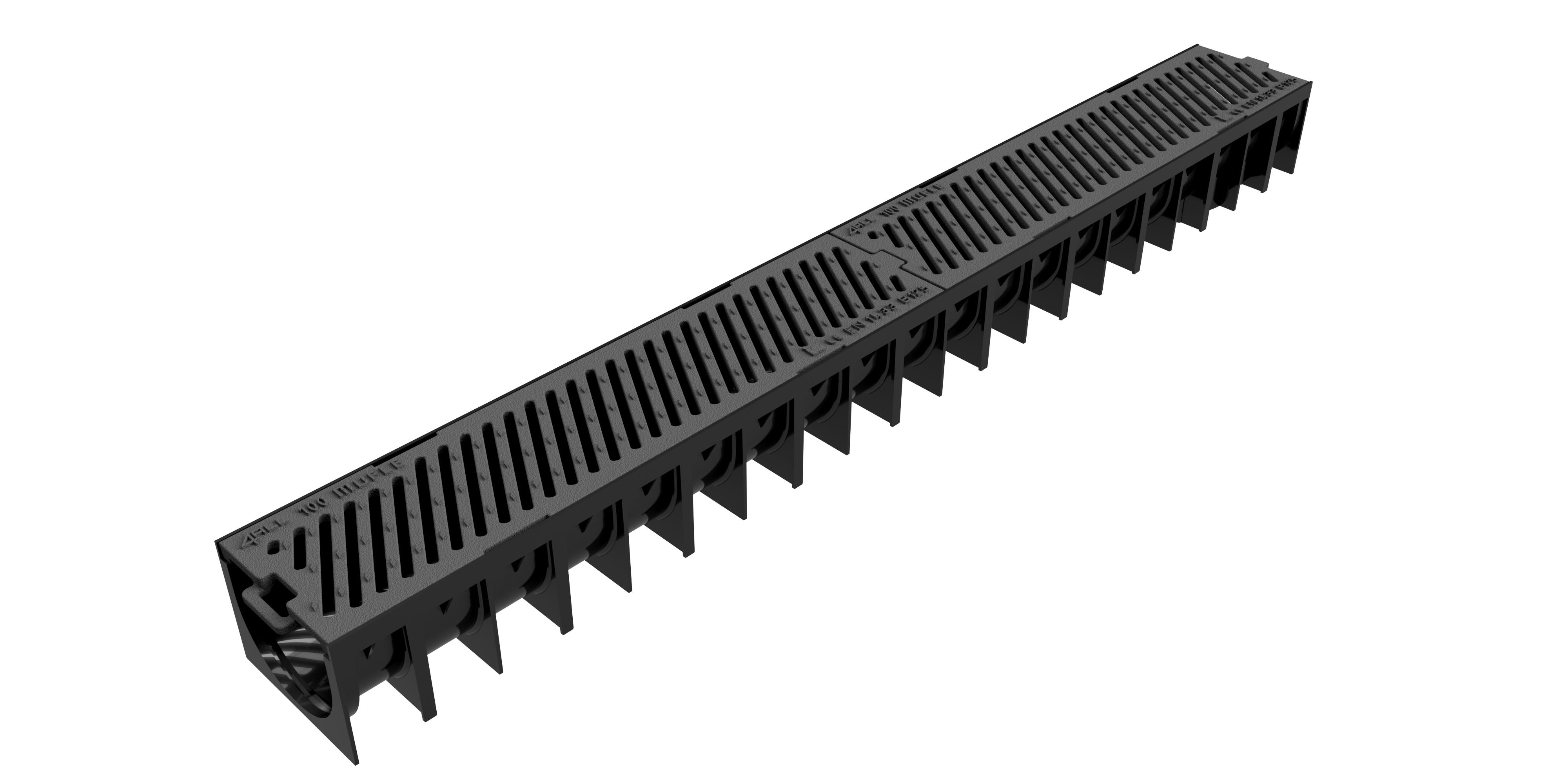 Render del canal MUFLE 4ALL H92 en polipropileno negro con reja pasarela de fundición clase de carga B125.