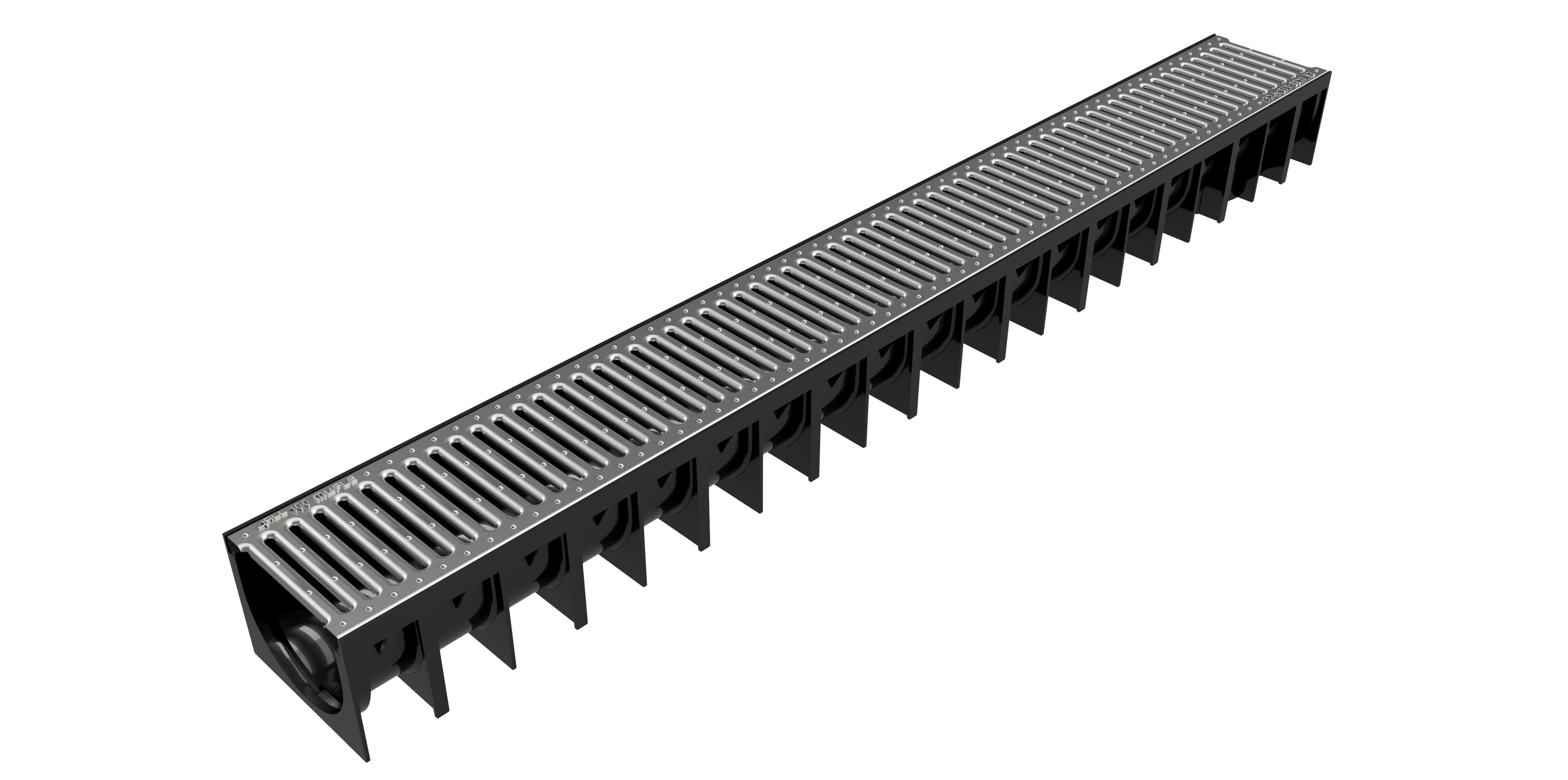 Render del canal MUFLE 4ALL H92 en polipropileno negro con reja pasarela Slim de acero galvanizado A15.