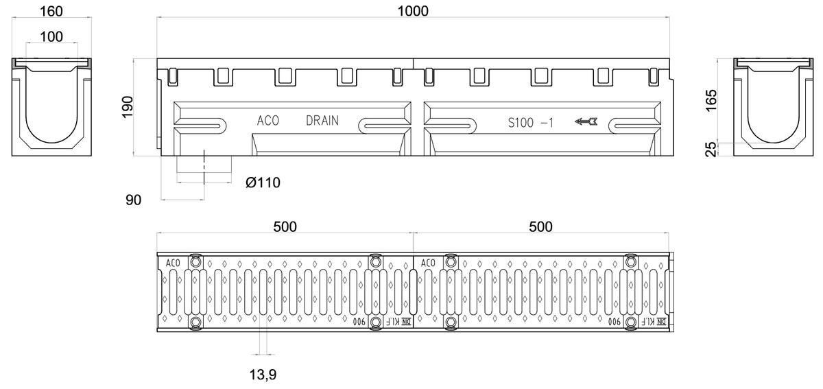 Esquema técnico del conjunto de canal S100 L1000 H190 en hormigon polímero con premarca para salida vertical DN/OD 110 y reja pasarela en fundición F900 con sistema de fijación por tornillos