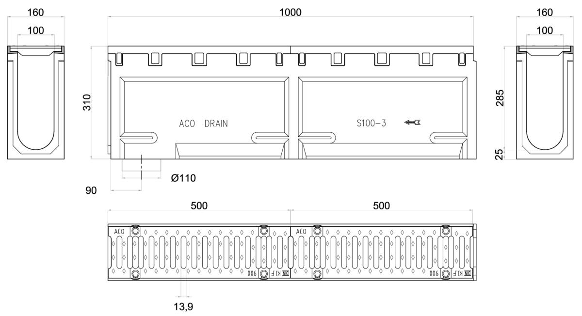 Esquema técnico do conjunto de canal S100 L1000 H310 em betão polímero com pré-marca para saída vertical DN/OD 110 e grelha passarela em fundição F900 com sistema de fixação por parafusos