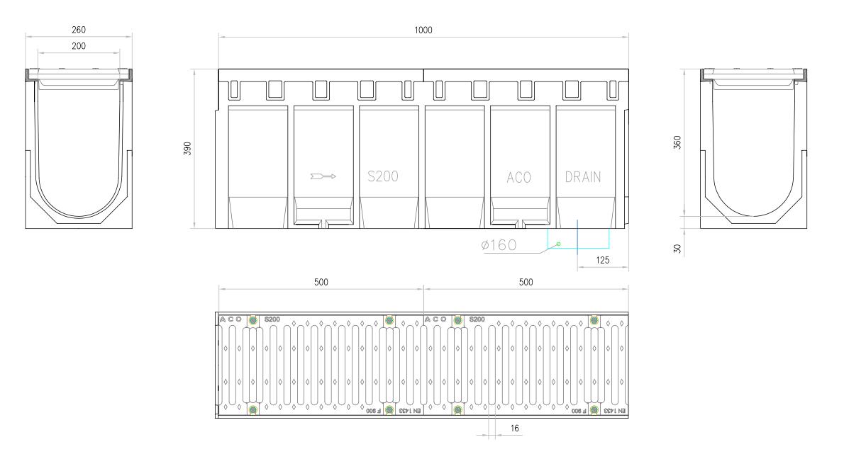 Esquema técnico do conjunto de canal S200 L1000 H390 em betão polímero com pré-marca para saída vertical DN/OD 160 e grelha passarela em fundição F900 com sistema de fixação por parafusos