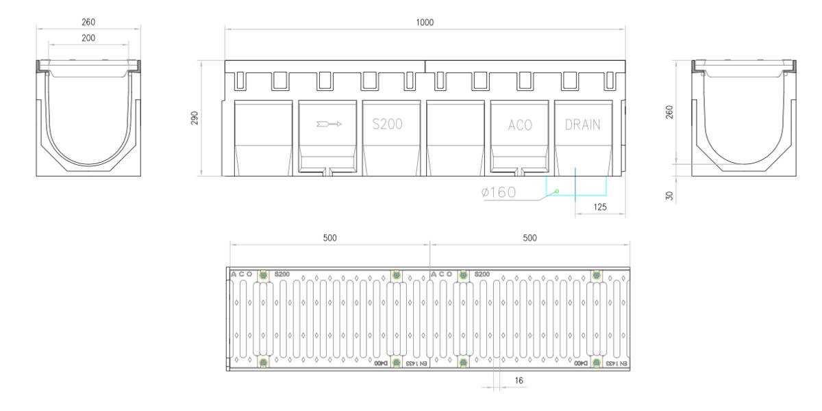 Esquema técnico do conjunto de canal S200 L1000 H290 em betão polímero com pré-marca para saída vertical DN/OD 160 e grelha passarela em fundição D400 com sistema de fixação por parafusos