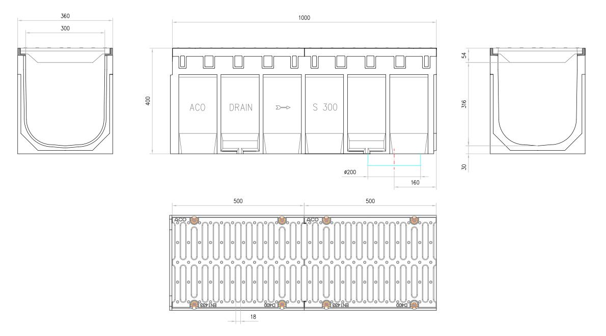 Esquema técnico del conjunto de canal S300 L1000 H400 en hormigon polímero con premarca para salida vertical DN/OD 200 y reja pasarela en fundición D400 con sistema de fijación por tornillos