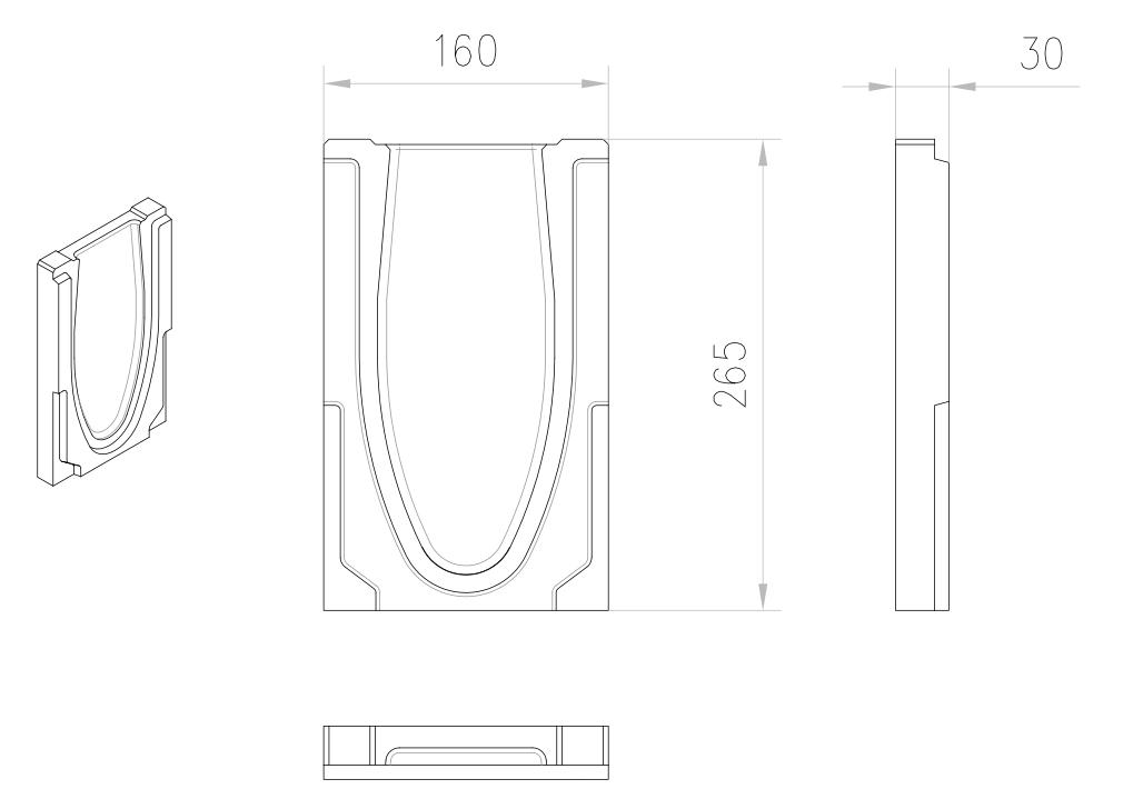 Esquema técnico de la tapa inicio para el canal MONOBLOCK RD100V 0.0 L30 A160 H275 en homgión polímero.