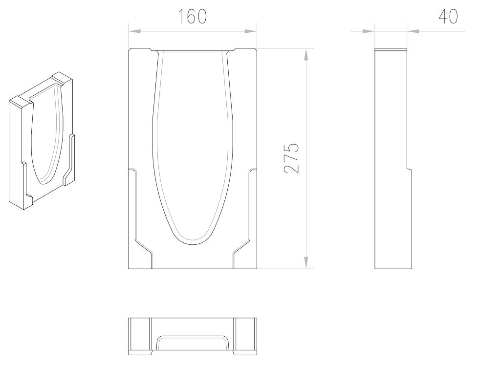 Esquema técnico da tampa final para o canal MONOBLOCK RD100V 0.0 L40 A160 H275 em betão polímerico.