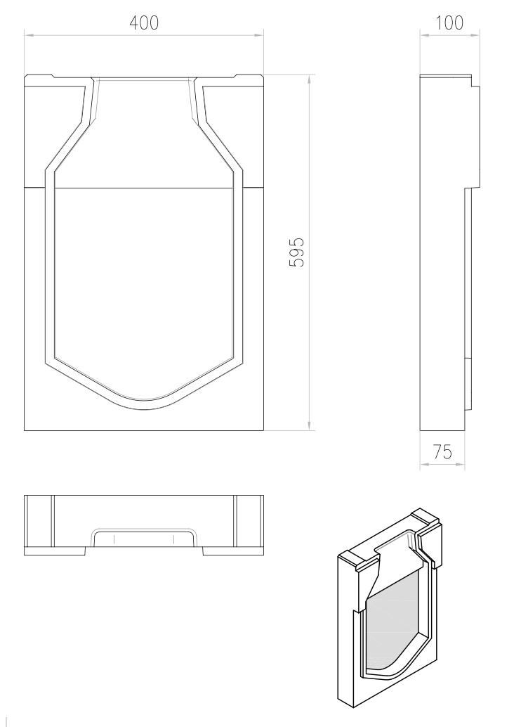 Esquema técnico de la tapa inicio para el canal MONOBLOCK RD300V L40 A400 H600 en homgión polímero.