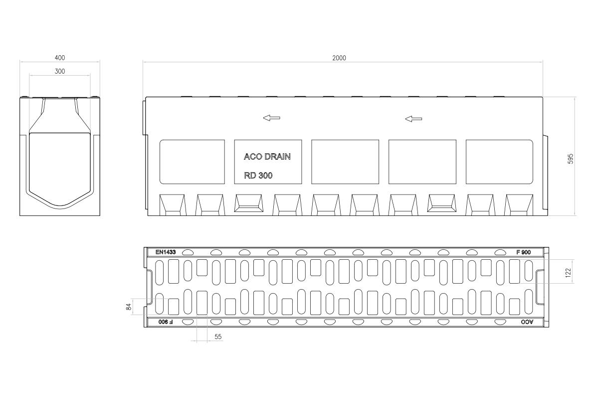 Esquema técnico do canal MONOBLOCK RD300V 0.0 em betão polímerico com grelha integrada F900