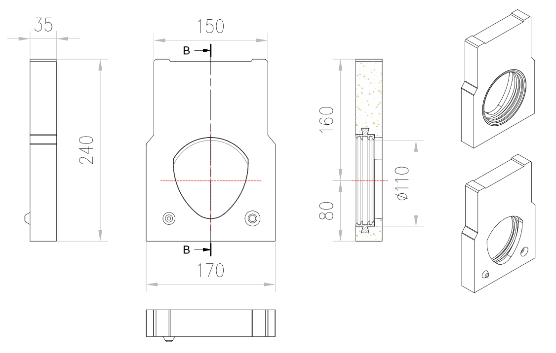 Esquema técnico de la tapa inicio/final con junta labiolaberíntica DN/OD 160 para el canal MONOBLOCK PD100V 0.0 L25 A150 H230 en homgión polímero.