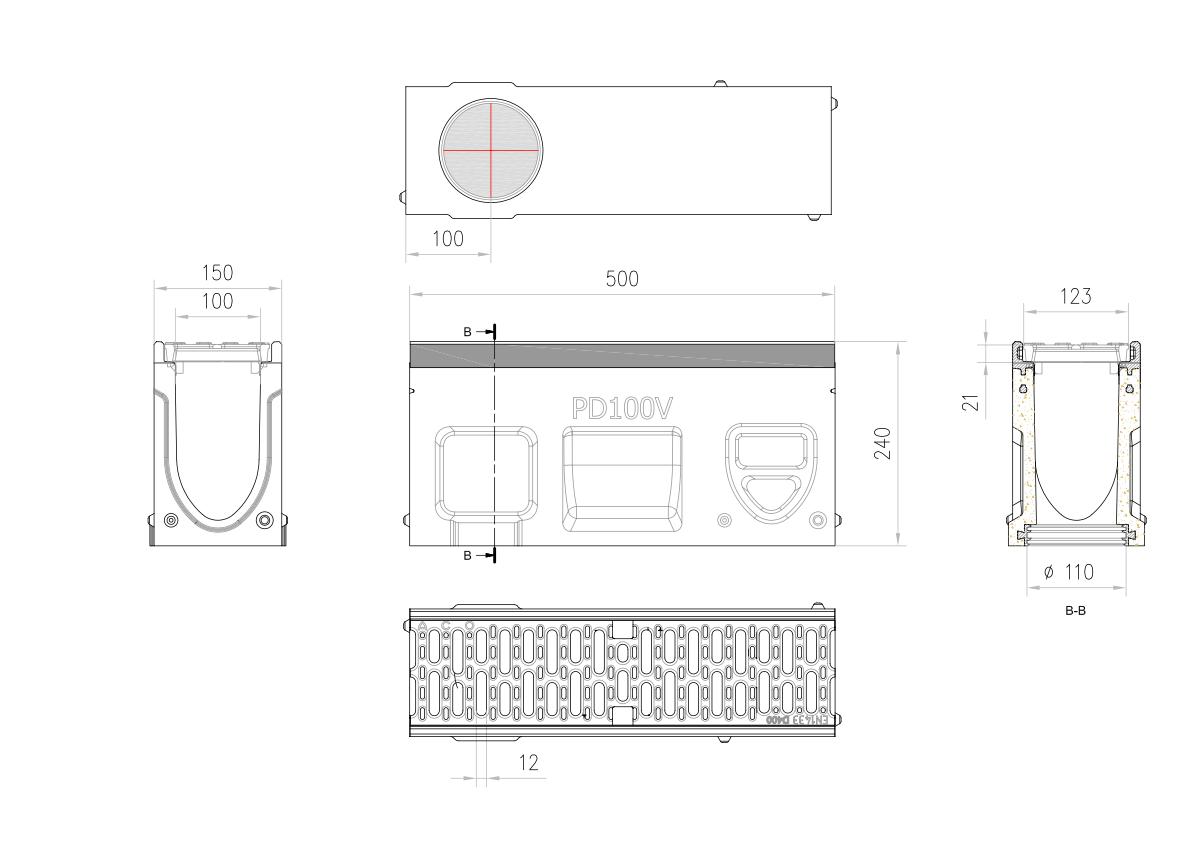 Esquema técnico do canal de inspecção MONOBLOCK PD100V 0.2 L500 H240 em betão polímerico com grelha passarela em fundição D400, sistema de fixação Drainlock e pré-formas laterais quebráveis L-T-X e vedação estanca