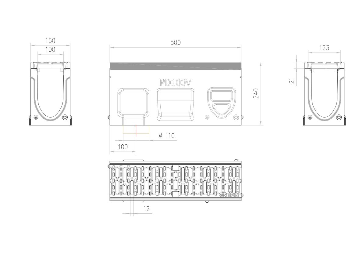 Esquema técnico do canal de inspecção MONOBLOCK PD100V 0.1 L500 H240 em betão polímerico com grelha passarela em fundição D400, sistema de fixação Drainlock e pré-formas laterais quebráveis L-T-X