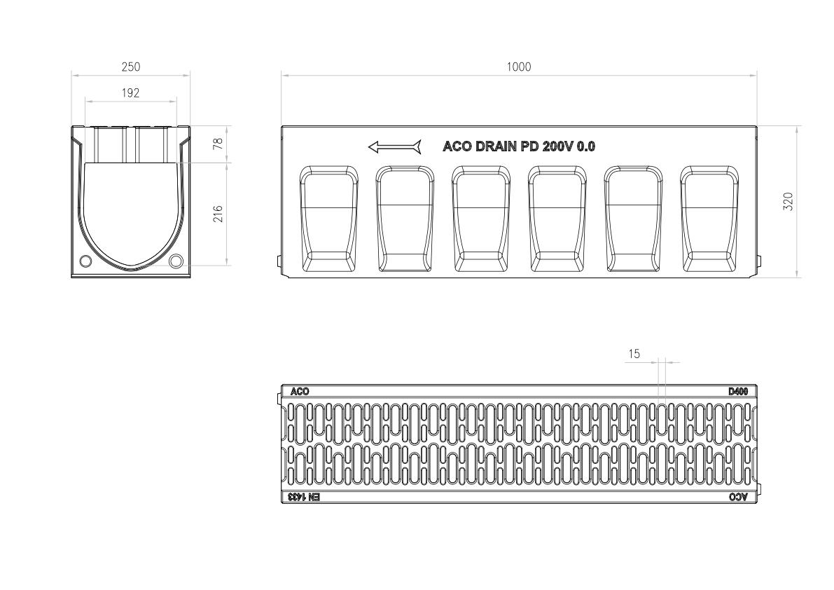Esquema técnico do canal MONOBLOCK PD200V em betão polímerico com grelha integrada