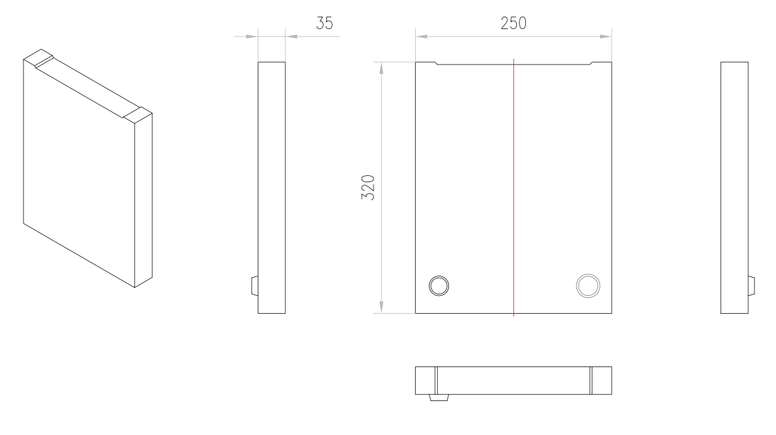 Esquema técnico de la tapa inicio/final para el canal MONOBLOCK PD200V 0.0 L40 A250 H320 en homgión polímero.