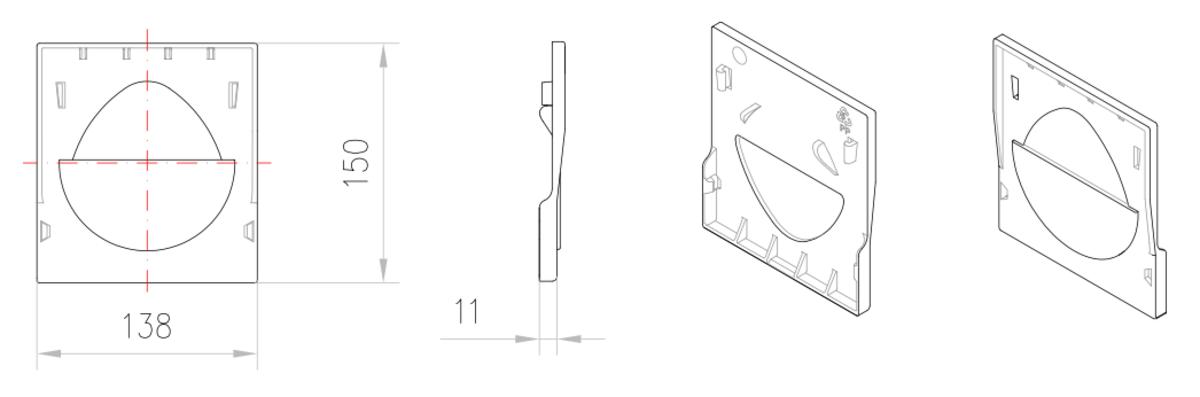 Esquema técnico de la tapa inicio/final para el canal XTRADRAIN 100 L11 A138 H150 en composite plástico negro.