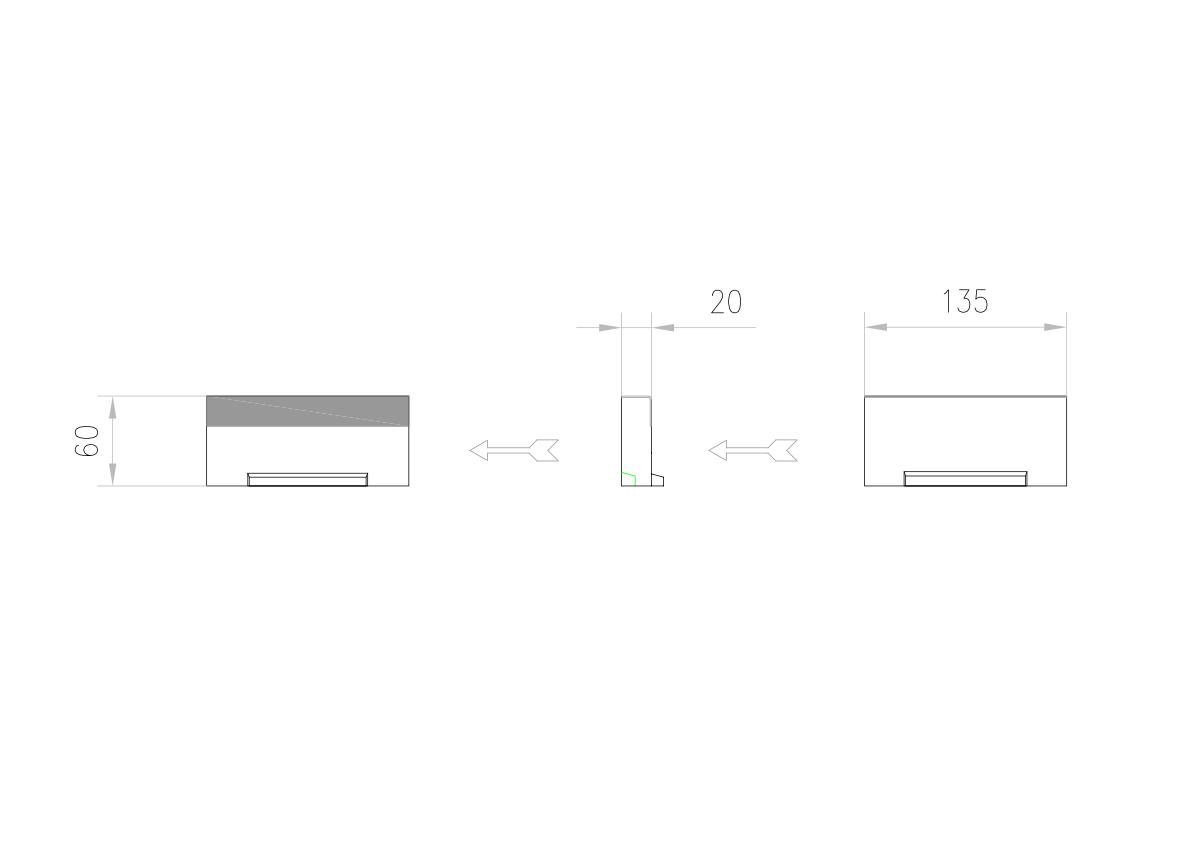 Esquema técnico da tampa inicio/final para o canal MULTILINE V100 L20 A123 H60 em betão polímerico com bastidor em aço galvanizado.