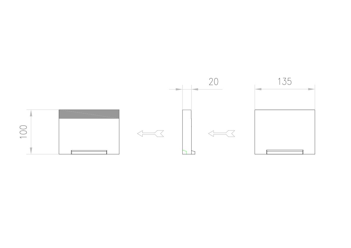 Esquema técnico de la tapa inicio/final para el canal MULTILINE V100 L20 A123 H100 en homgión polímero con bastidor en acero galvanizado.