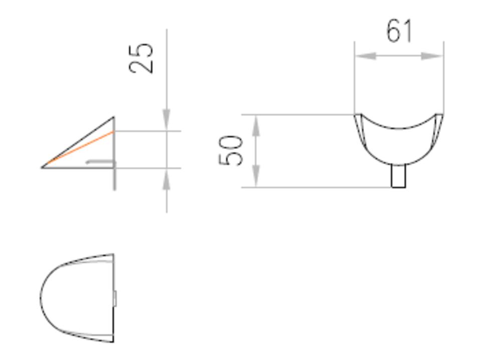 Esquema técnico de la calza de emplame para los canales MULTILINE V100 L50 A61 H25 en hormigón polímero.