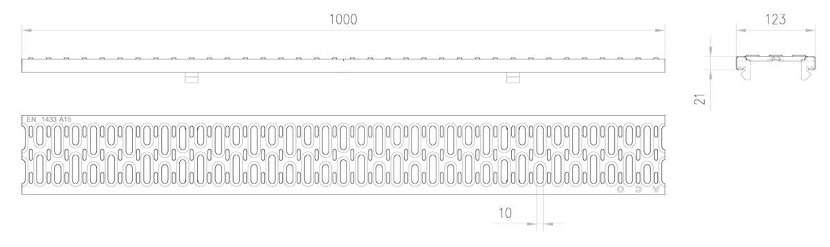 Esquema técnico de la reja para canal MULTIDRIAN/MULTILINE/XTRADRAIN 100, reja pasarela en acero galvanizado de dimensiones L1000 A123 H21/21 con sistema de fijación Drainlock, clase de carga A15.