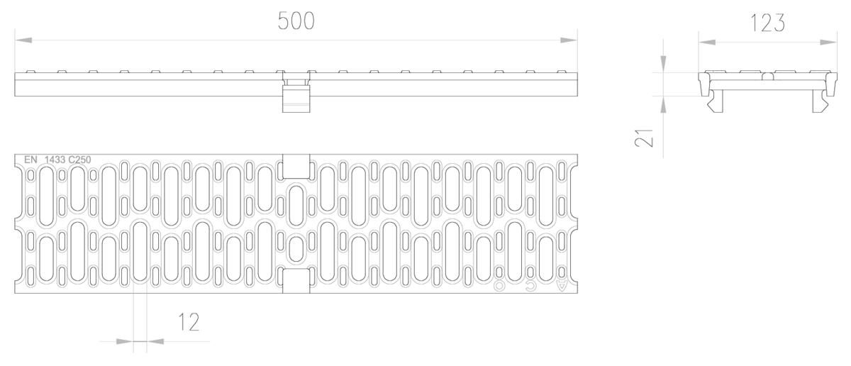 Esquema técnico de la reja para canal MULTIDRIAN/MULTILINE/XTRADRAIN 100, reja pasarela R12 en fundición de dimensiones L500 A123 H21/21 con sistema de fijación Drainlock, clase de carga C250.