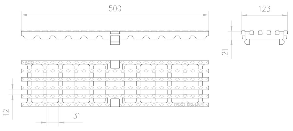 Esquema técnico de la reja para canal MULTIDRIAN/MULTILINE/XTRADRAIN 100, reja entramada 31X12 en fundición de dimensiones L500 A123 H21/21 con sistema de fijación Drainlock, clase de carga C250.