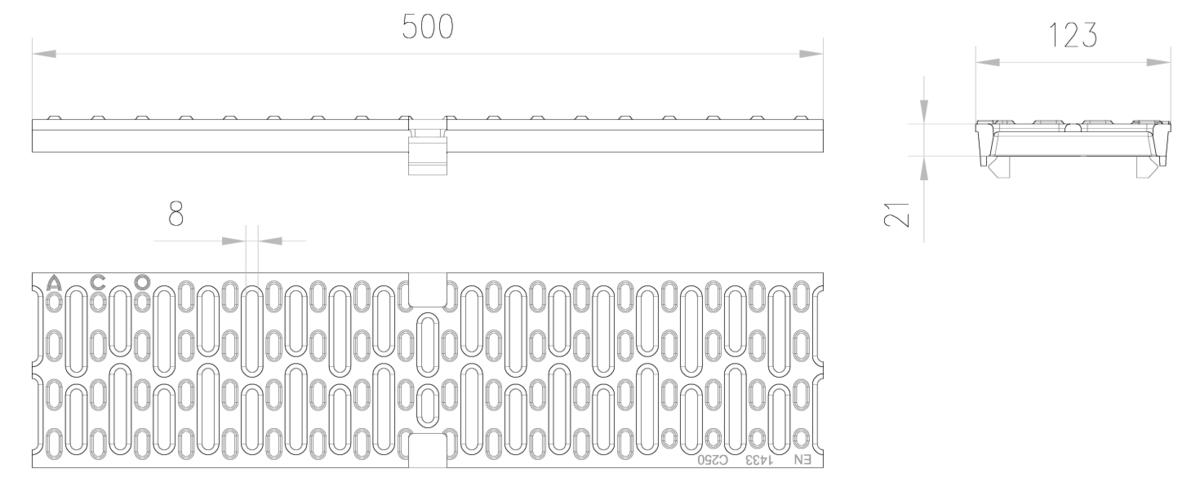 Esquema técnico de la reja para canal MULTIDRIAN/MULTILINE/XTRADRAIN 100, reja anti-tacón R8 en fundición de dimensiones L500 A123 H21 con sistema de fijación Drainlock, clase de carga C250.