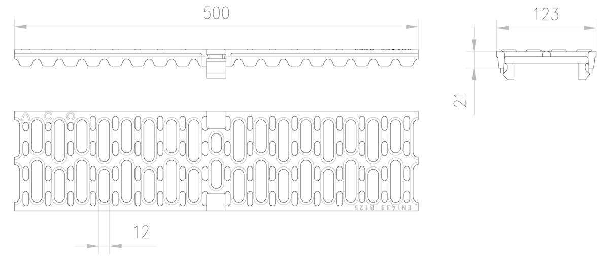 Esquema técnico de la reja para canal MULTIDRIAN/MULTILINE/XTRADRAIN 100, reja pasarela en fundición de dimensiones L500 A123 H21/21 con sistema de fijación Drainlock, clase de carga B125.