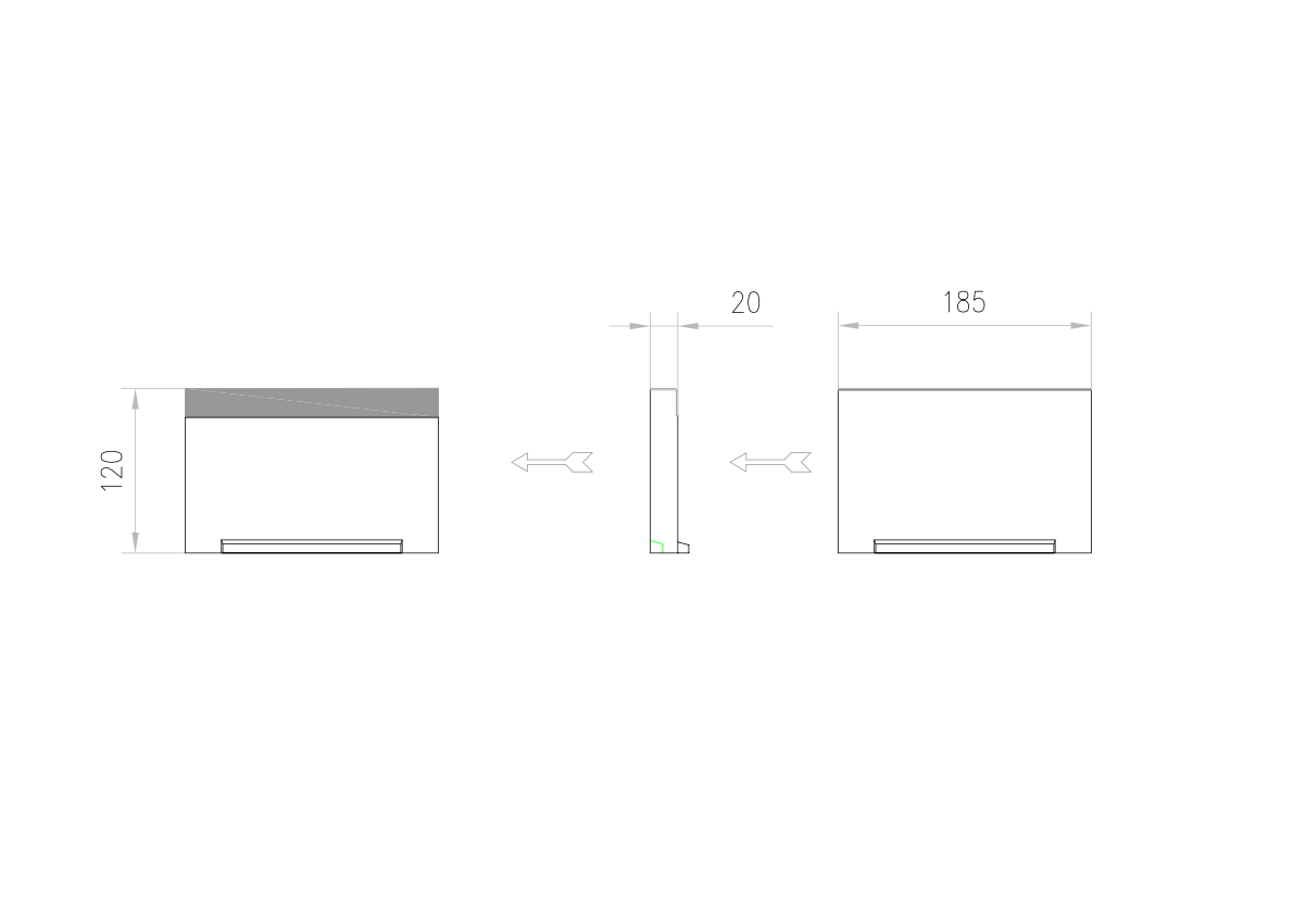 Esquema técnico de la tapa inicio/final para el canal MULTILINE V150 L20 A185 H120 en homgión polímero con bastidor en acero galvanizado.