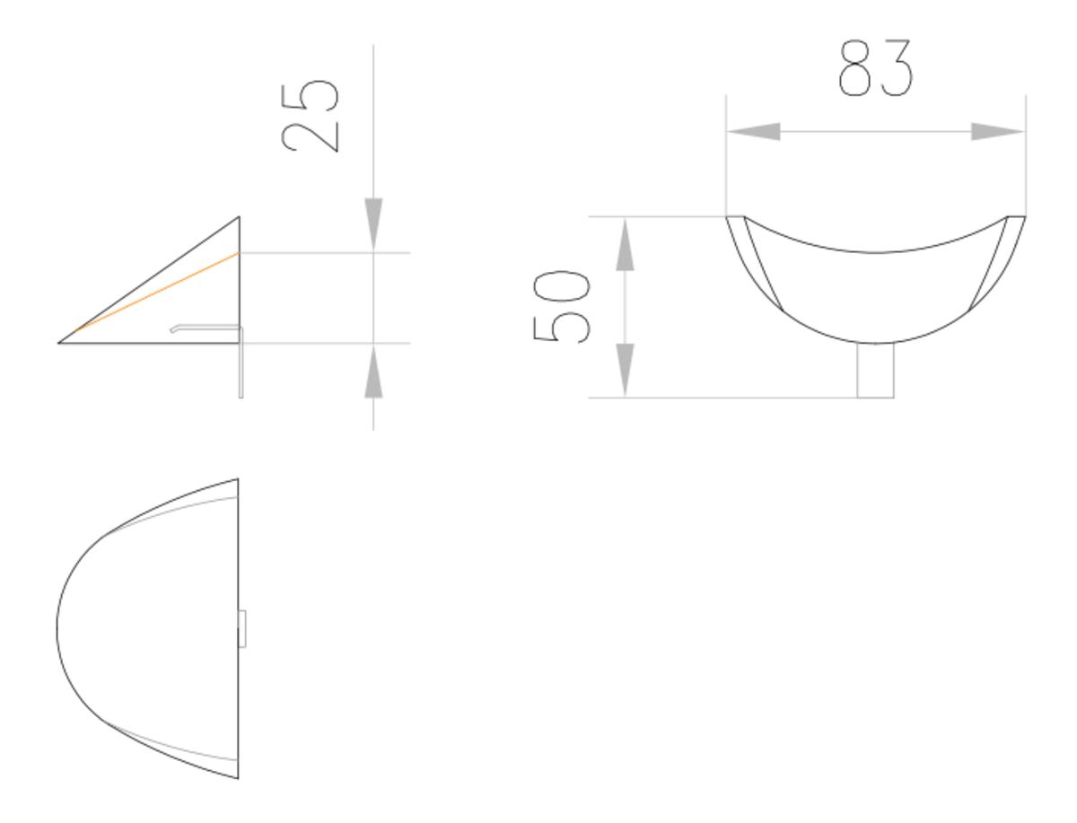 Esquema técnico de la calza de emplame para los canales MULTILINE V150 L50 A83 H25 en hormigón polímero.