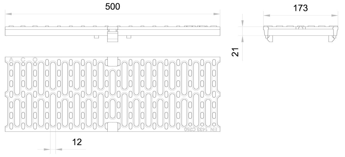 Esquema técnico da grelha para canal MULTIDRIAN/MULTILINE/XTRADRAIN 150, grelha passarela R12 em fundição da dimensões L500 A173 H21/21 com sistema de fixação Drainlock, classe de carga C250.