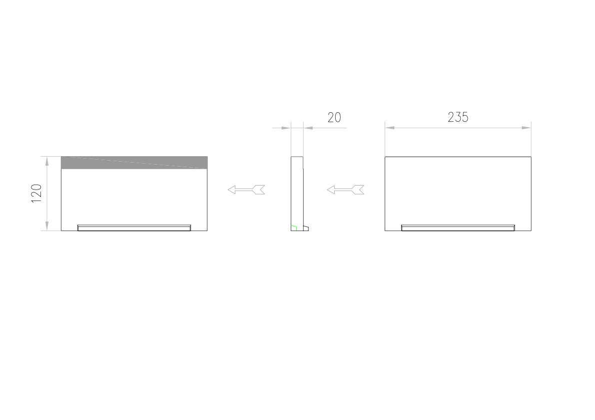Esquema técnico de la tapa inicio/final para el canal MULTILINE V200 L20 A235 H120 en homgión polímero con bastidor en acero galvanizado.