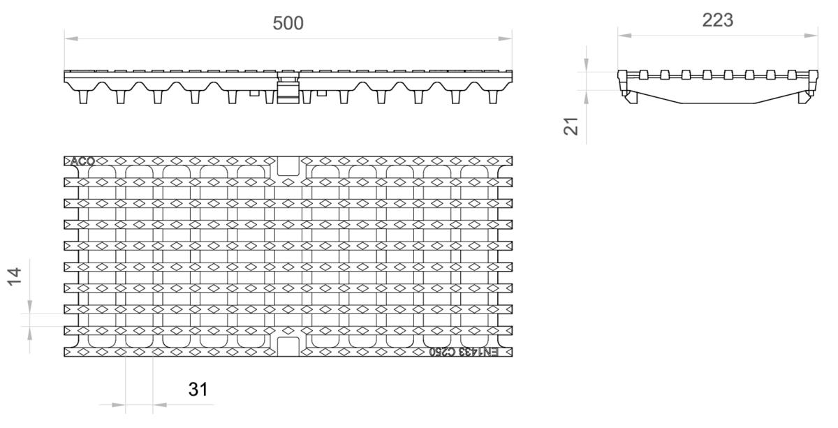 Esquema técnico de la reja para canal MULTIDRIAN/MULTILINE/XTRADRAIN 200, reja entramada 31X14 en fundición de dimensiones L500 A223 H21/35 con sistema de fijación Drainlock, clase de carga C250.