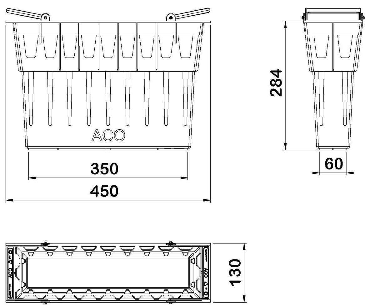 Esquema técnico del cestillo para los sumidero del canal MONOBLOCK RD150V L450 A130 H130 en plástico negro.