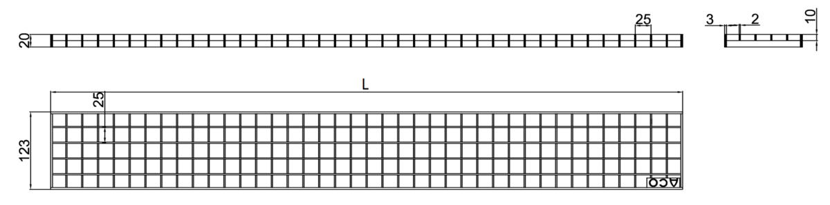 Esquema técnico da grelha para canal Modular 125, grelha entramada lisa 25X25 20X2 em aço inoxidável AISI304 da dimensões L1000 A125 H20 sem sistema de fixação, classe de carga C250.