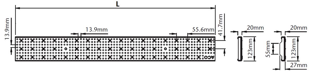 Esquema técnico da grelha para canal Modular 125, grelha perfurada em aço inoxidável AISI304 da dimensões L1000 A125 H20 sem sistema de fixação, classe de carga A15.