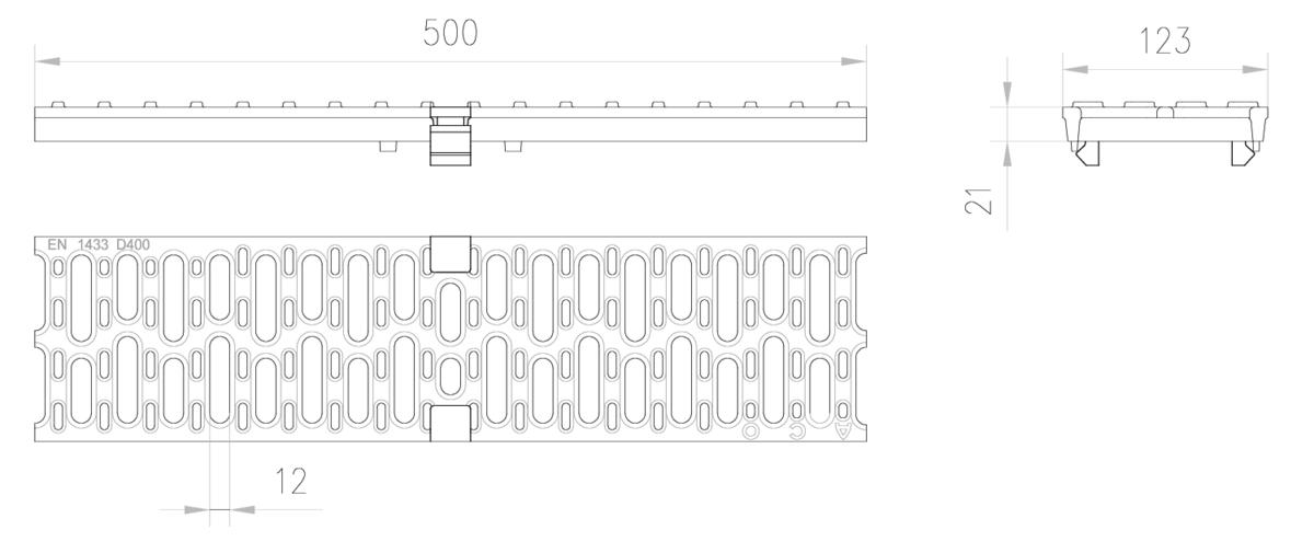 Esquema técnico de la reja para canal MULTIDRIAN/MULTILINE/XTRADRAIN 100, reja pasarela R12 en fundición de dimensiones L500 A123 H21/21 con sistema de fijación Drainlock, clase de carga D400.