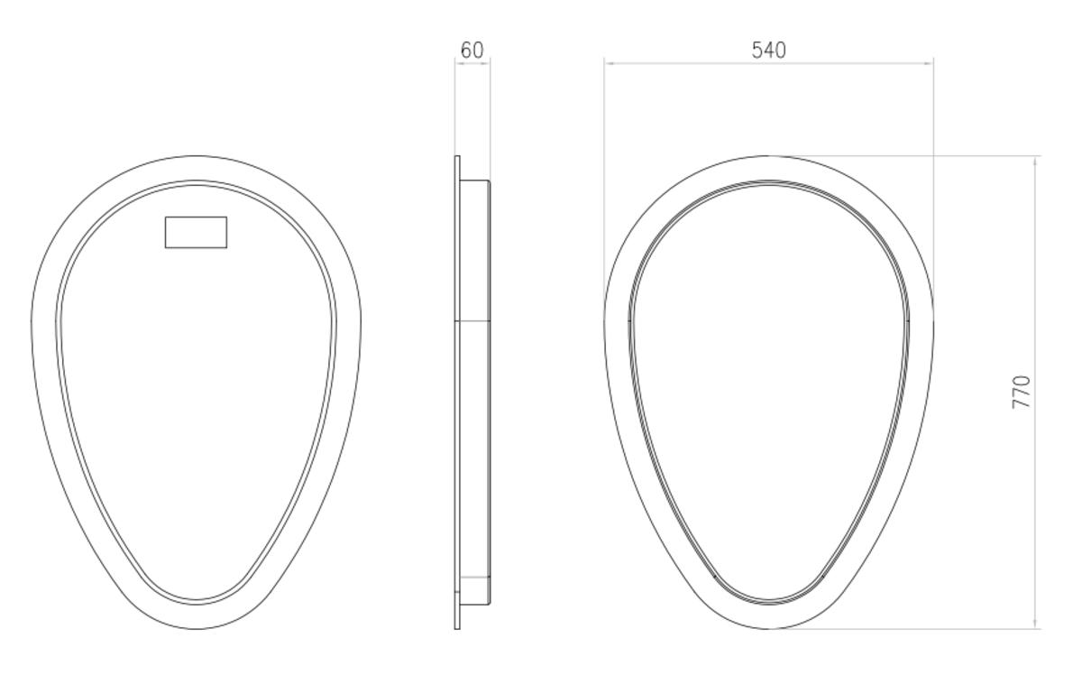 Esquema técnico da tapa intermedia para el canal QMAX 700 L12 A540 H770 en polietileno negro.