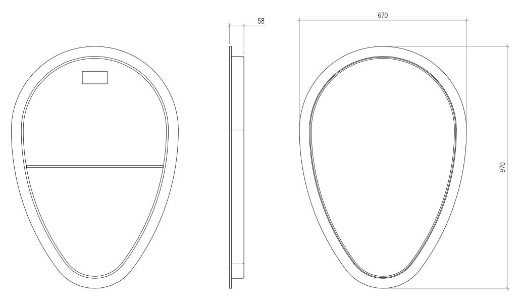 Esquema técnico da tapa intermedia para el canal QMAX 900 L60 A670 H970 en polietileno negro.