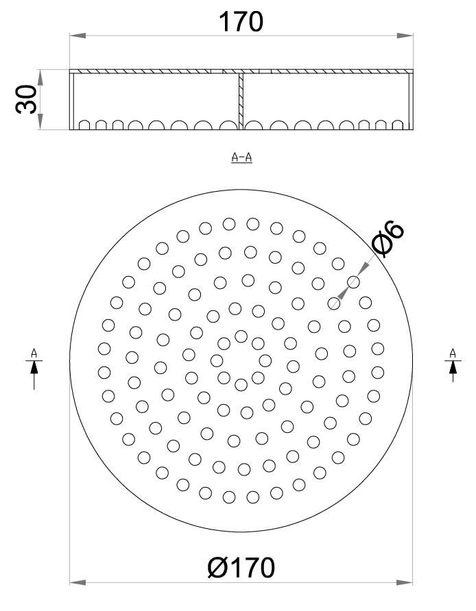 Esquema técnico da grelha para sumidouro EG, grelha perfurada em aço inoxidável AISI304 da dimensões Ø170 H25 sem sistema de fixação, classe de carga L15.