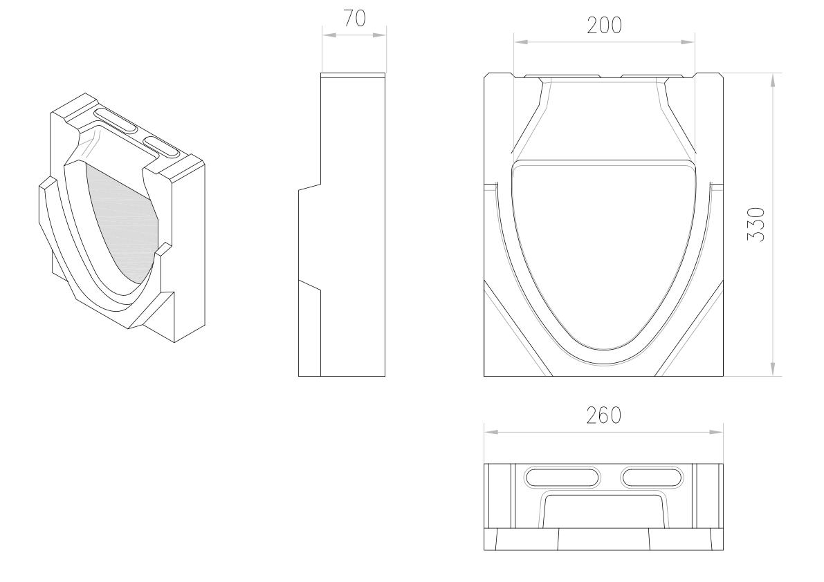 Esquema técnico da tampa final para o canal MONOBLOCK RD200V 0.0 L70 A260 H330 em betão polímerico.