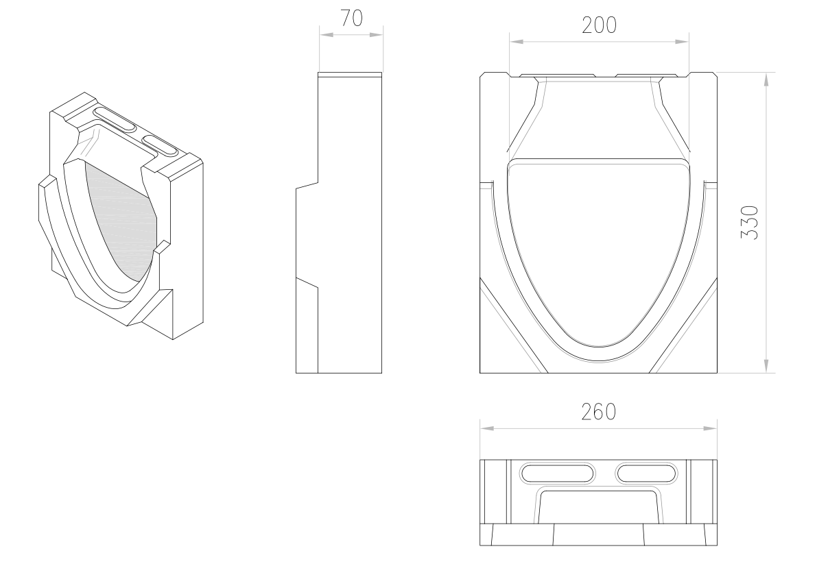 Esquema técnico de la tapa final para el canal MONOBLOCK RD200V 0.0 L70 A260 H330 en homgión polímero.