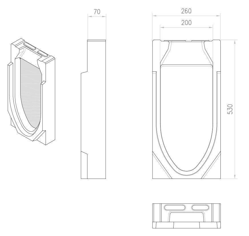 Esquema técnico da tampa final para o canal MONOBLOCK RD200V 20.0 L70 A260 H530 em betão polímerico.