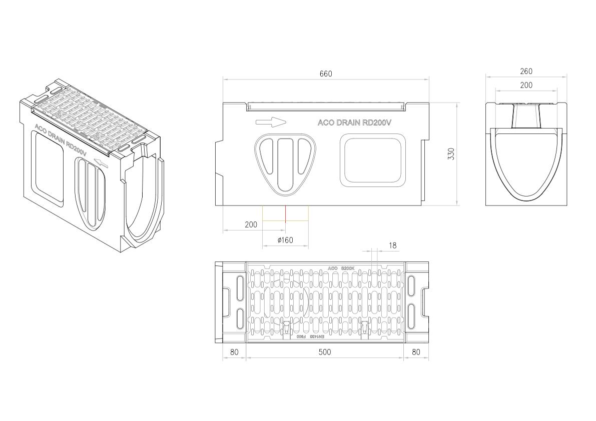 Esquema técnico do canal de inspecção MONOBLOCK RD200V 0.1 L660 H330 em betão polímerico com grelha passarela em fundição F900, sistema de fixação Drainlock e pré-formas laterais quebráveis L-T-X e pré-forma vertical quebrávei