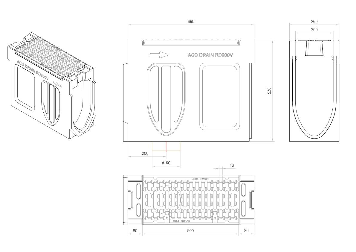 Esquema técnico do canal de inspecção MONOBLOCK RD200V 20.1 L660 H530 em betão polímerico com grelha passarela em fundição F900, sistema de fixação Drainlock e pré-formas laterais quebráveis L-T-X e pré-forma vertical quebrávei