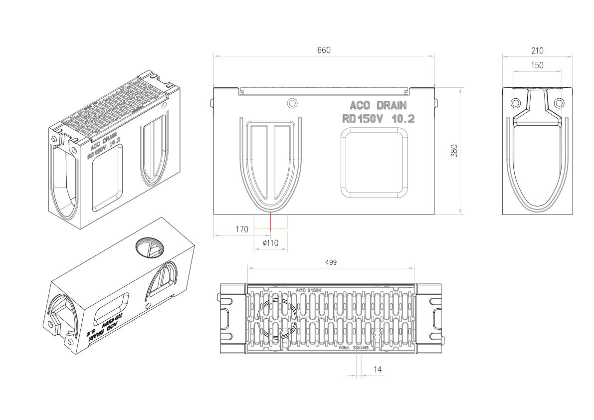 Esquema técnico do canal de inspecção MONOBLOCK RD150V 10.2 L660 H380 em betão polímerico com grelha passarela em fundição F900, sistema de fixação Drainlock e pré-formas laterais quebráveis L-T-X e vedação estanca