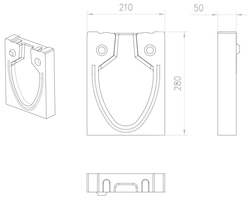 Esquema técnico da tampa inicio/final para o canal MONOBLOCK RD150V 0.0 L50 A210 H280 em betão polímerico.