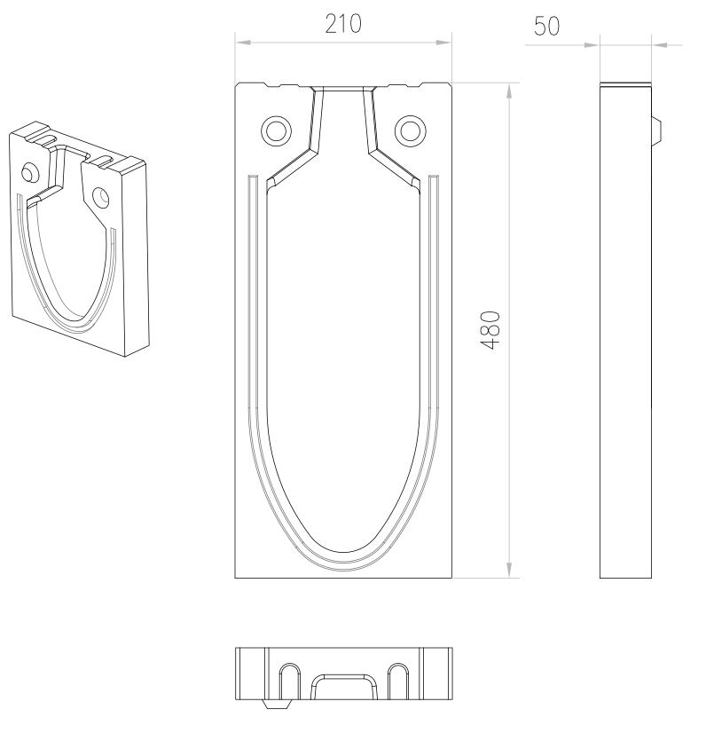 Esquema técnico da tampa inicio/final para o canal MONOBLOCK RD150V 20.0 L50 A210 H480 em betão polímerico.